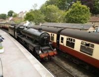 45407 running around its train in Pickering station on 23 May 2009.<br> <br><br>[Peter Todd&nbsp;23/05/2009]