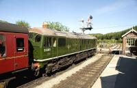 D5061 stands at Levisham Station on 24 May with a morning train for Grosmont.<br><br>[Peter Todd&nbsp;24/05/2009]