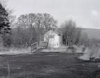 The former station building and platform at Oxton, photographed during a visit on 18 March 1987.<br><br>[Bill Roberton&nbsp;18/03/1987]