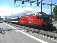 A Brig to Geneva Airport train calls at Aigle on 17 May.<br><br>[Michael Gibb&nbsp;17/05/2009]