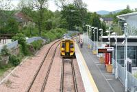 A green and pleasant Alloa on 28 May 2009, with the next train to Glasgow Queen Street waiting at the platform. <br><br>[John Furnevel&nbsp;28/05/2009]