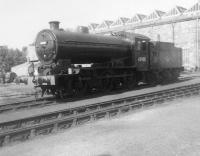 Ex-works J38 no 65908 of Thornton Junction shed stands resplendent in the yard outside Inverurie Works on 29 August 1963. The locomotive was withdrawn by BR in September of the following year. <br><br>[David Pesterfield&nbsp;29/08/1963]