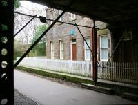 Now forming part of the Water of Leith walkway, the photograph shows the 1846 station at Bonnington on the North Leith branch in March 2009. The building opposite, on the westbound platform, provided access from Bonnington Road bridge directly above the camera. Bonnington lost its passenger service as early as 1947, although the branch survived for freight traffic until 1968. <br> <br><br>[John Furnevel&nbsp;15/03/2009]