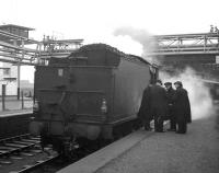 <I>'I'll see your five and raise you another ten...'</I> Stopover at Ardrossan Montgomerie Pier for Eastfield B1 no 61342 with the much - travelled <I>Scottish Rambler No 5</I> on 10 April 1966, prior to heading off on the next leg of the tour to Girvan.<br><br>[Robin Barbour Collection (Courtesy Bruce McCartney)&nbsp;10/04/1966]