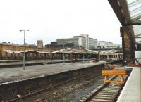 The old Bradford Forster Square Station during the initial stages of demolition on 16 March 1992, seen from the adjacent platforms of the new station.<br><br>[David Pesterfield&nbsp;16/03/1992]