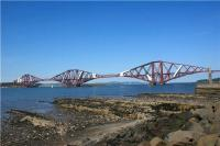 The Forth Bridge viewed from just west of the harbour at South Queensferry on 31 May 2009.<br><br>[John McIntyre&nbsp;31/05/2009]