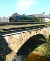 S15 4-6-0 no 825 has just left Grosmont station after coming off a morning train from Whitby on 24 April and is crossing the bridge over the Esk on its way to Grosmont shed. <br> <br><br>[John Furnevel&nbsp;24/04/2009]