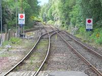 Looking south from the end of the platform at Arrochar and Tarbet on 2 June 2009, showing running lines, sidings and headshunt.<br><br>[David Panton&nbsp;02/06/2009]