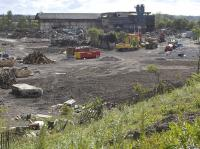 The once rail - connected former North British Steel Foundry site at Bathgate on 6 June 2009. The new railway to Airdrie will follow the boundary fence in the foreground (on the inside of the former alignment) in order to bypass retail developments in the old goods yard.<br><br>[Bill Roberton&nbsp;06/06/2009]