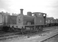 Z4 0-4-2T no 68191 one of a class of 2 locomotives designed specifically for shunting in Aberdeen Docks. Built by Manning Wardle for the GNSR, both spent their entire lives at Kittybrewster shed. The photograph was taken at 61A in July 1959, the same year 68191 was withdrawn by BR.<br> <br><br>[Robin Barbour Collection (Courtesy Bruce McCartney)&nbsp;/07/1959]