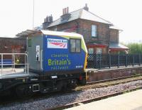 A Network Rail weedkilling train stands in front of the 1847 station building alongside the up platform at Hunmanby on 21 April 2009.  <br><br>[John Furnevel&nbsp;21/04/2009]
