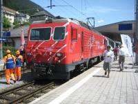 The <I>Glacier Express</I> changing over locos from friction to rack and pinion at�Disentis-Muster (3750 feet) on 24 May 2009. From here the railway climbs to 6,670 feet.<br> <br><br>[Bruce McCartney&nbsp;24/05/2009]