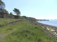 Site of the goods shed and sidings at Wemyss Bay on 1 June 2009, looking towards the station and pier.<br><br>[David Panton&nbsp;01/06/2009]