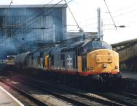 37685+37422 head north through Carlisle Station on 24 August 1992 with a train of cement tanks.<br><br>[David Pesterfield&nbsp;24/08/1992]