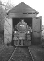 <I>Breathe in...</I> BR standard class 4 no 80126 stands in the cramped wooden shed at Loch Tay following a spell of duty on the Killin branch on 1 February 1964.<br><br>[Robin Barbour Collection (Courtesy Bruce McCartney)&nbsp;01/02/1964]