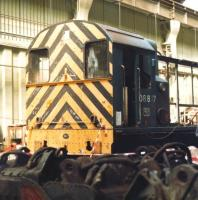 A partially dismantled 08817 receiving attention at Doncaster works in July 1984. <br><br>[David Pesterfield&nbsp;28/07/1984]