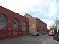 The surviving buildings of the former Edinburgh Corporation tram depot at Shrubhill seen from Dryden Street on 3 June 2009. The Leith Corporation depot was located a short distance to the north of here on the east side of Leith Walk. [See image 11373]  <br><br>[David Panton&nbsp;03/06/2009]