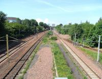View west over Rutherglen West Junction - and the remains of Rutherglen's mainline platforms (abandoned in 1979) on 1 June 2009.<br><br>[David Panton&nbsp;01/06/2009]