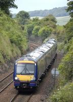 170 395 and a 158 unit form the 13.35 Edinburgh-Inverness service heading downhill towards Aberdour on 15 June 2009<br> <br><br>[Bill Roberton 15/06/2009]