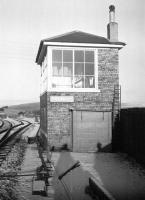 Looking north along the Waverley route past Shankend signal box towards the station and viaduct in the 1960s following a light snowfall. The old box has since been refurbished and converted to residential accomodation - see image 17958.<br> <br><br>[Robin Barbour Collection (Courtesy Bruce McCartney)&nbsp;//]