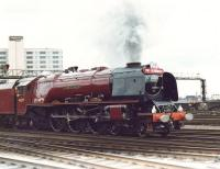 Stanier Coronation Pacific no 46229 <I>Duchess of Hamilton</I> sets out from Leeds with the final leg of the <I>Trans Pennine Pullman</I> to Carlisle on 10 April 1982.<br><br>[David Pesterfield&nbsp;10/04/1982]
