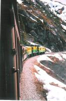 A train on the White Pass & Yukon narrow gauge railway, Alaska, on 21 May 2009. The line climbs from Skagway (at sea level) to White Pass Summit (elevation 2,865 ft) during the spectacular 20 mile journey.<br><br>[Brian Granger&nbsp;21/05/2009]
