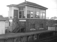 The signal box at Kershopefoot station on the Waverley route, photographed in the early 1960s.<br><br>[Robin Barbour Collection (Courtesy Bruce McCartney)&nbsp;//]