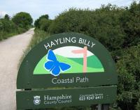 <I>Hayling Billy</I> railway coastal path sign. The path serves walkers, cyclists and horse riders.<br><br>[Alistair MacKenzie 17/06/2009]