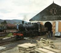 Ivatt 2-6-0 no 46464 stands outside the shed at Aviemore on the Strathspey Railway on 19 May 1979<br><br>[Peter Todd&nbsp;19/05/1979]