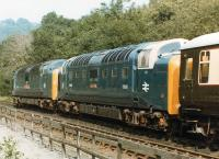 Deltics D9019 <i>Royal Highland Fusilier</i> & 55009 <I>Alicydon</I> stabled in the sidings to the south of Grosmont Shed on 21 August 1984<br><br>[David Pesterfield&nbsp;21/08/1984]