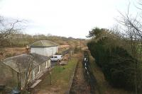 Looking east over the still remarkably preserved station and goods shed at Edrom in February 2006. 1 mile and 23 chains nearer Chirnside the Berwickshire line served a <i>Trotters siding</i>.<br><br>[James Young&nbsp;22/02/2006]