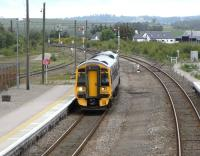 158 715 approaches Inverurie with an Inverness to Aberdeen service in June 2009. The second platform is used only when both lines are needed<br><br>[David Panton&nbsp;15/06/2009]