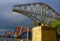 View from South Queensferry towards the Forth Bridge in June 2009 past the Hamish Gilchrist memorial to those killed during its construction.<br><br>[Bill Roberton&nbsp;21/06/2009]
