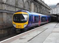 185 129 pulls out of Waverley <I>sub</I> platform 8 with a <I>First TransPennine Express</I> service for Manchester Airport on 17 June 2009.<br><br>[David Panton&nbsp;17/06/2009]