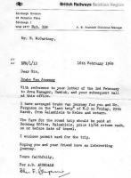 Copy of a letter from BR Scottish Region dated 16 February 1968, authorising a brake van journey on the last freight to Kelso. [See image 6955]<br><br>[Bruce McCartney&nbsp;16/02/1968]