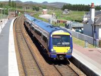 A southbound service runs through Dalwhinnie on 23 June 2009.<br><br>[Brian Forbes&nbsp;23/06/2009]