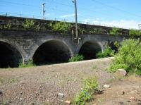 Partick Central - goods yard arches with current line over.<br><br>[Alistair MacKenzie&nbsp;23/06/2009]