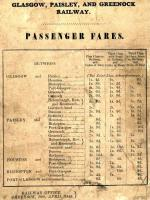 Fares chart issued by the Glasgow, Paisley and Greenock Railway in April 1846.<br><br>[Ian Dinmore&nbsp;22/09/2009]