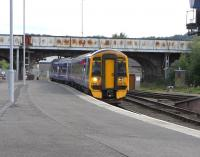 Arrival from the south at Perth on 16 June 2009, with 158 719 on the Edinburgh - Perth shuttle pulling into its usual platform 5. <br><br>[David Panton&nbsp;16/06/2009]