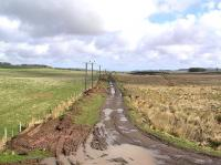 Looking east along the trackbed of the former Berwickshire Railway between Gordon and Greenlaw near Rumbletonlaw in March 2004.<br> <br><br>[James Young&nbsp;09/03/2004]