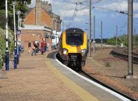 CrossCountry service for Aberdeen pulls into Dunbar on 18 June 2009.  Not only were the departure monitors showing 'Platform 1' when there is only one platform, but the 1s were flashing to indicate a platform alteration...<br><br>[David Panton&nbsp;18/06/2009]