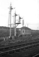 View across the sidings at Lady Victoria Pit, Newtongrange, in the early 1960s towards the signal box on the west side of the Waverley main line.<br><br>[Robin Barbour Collection (Courtesy Bruce McCartney)&nbsp;//]