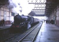 B1 4-6-0 no 61342 stands at the platform at Montgomerie Pier, Ardrossan, on 10 April 1966 with <I>Scottish Rambler No 5</I> from Glasgow Central.<br><br>[Robin Barbour Collection (Courtesy Bruce McCartney)&nbsp;10/04/1966]