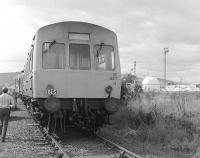 The BLS <I>Lothian and Fife Wanderer</I> from Waverley reaches the end of the line at the Lurgi gasification plant at Westfield, Fife, on 23 August 1980.<br> <br><br>[Bill Roberton&nbsp;23/08/1980]