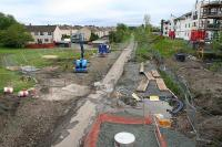Looking west from the now removed Whitburn Road OB in Bathgate on 23 May 2009. The footpath marks the course of the Railway toward Armadale and the West.<br><br>[James Young&nbsp;23/05/2009]