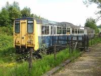 Another view of the prototype railbus DMU 140001 stored west of Dufftown Station in June 2009.<br> <br><br>[David Pesterfield&nbsp;26/06/2009]