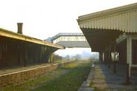 View along the deserted platforms at Ross-on-Wye, closed in 1964.<br><br>[Colin Miller&nbsp;//1974]