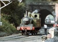 69023 <i>Joem</i> stands alongside Grosmont shed on 21 August 1984. The level crossing at Grosmont station can be seen in the background on the north side of the tunnel.<br><br>[David Pesterfield&nbsp;21/08/1984]