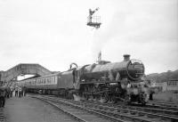 The returning LCGB <I>Thames-Tyne Limited</I> at Hexham on the Carlisle-Newcastle leg of the railtour on 3 June 1967 behind 45562 <I>Alberta</I>. The Jubilee handed over to 4472 at Newcastle Central for the trip back to London.<br> <br><br>[Robin Barbour Collection (Courtesy Bruce McCartney)&nbsp;03/06/1967]