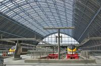 <I>Eurostars</I> awaiting departure for Paris and Brussels via the UKs only High Speed Rail Link stand below Mr Barlow's engineering masterpiece at St Pancras station on 5 July 2009. <br> <br><br>[Bill Roberton&nbsp;05/07/2009]